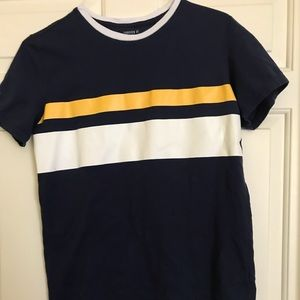 Blue shirt with white and yellow stripes 👕